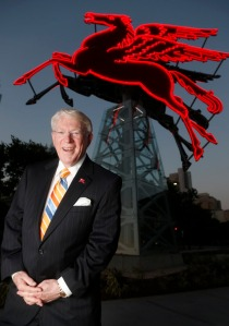 John Crawford, CEO of Downtown Dallas Inc. in front of the original Dallas Pegasus, now featured in front of the Omni Hotel in Dallas on Wednesday, June 3, 2015. (Michael Ainsworth/The Dallas Morning News)